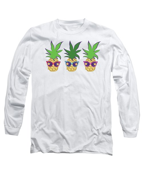Summer Pineapples Wearing Retro Sunglasses Long Sleeve T-Shirt by MM Anderson