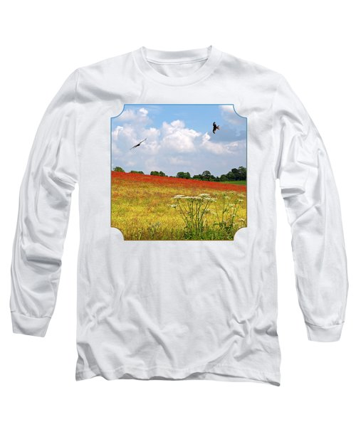 Summer Spectacular - Red Kites Over Poppy Fields - Square Long Sleeve T-Shirt