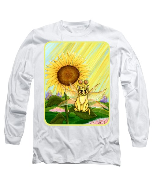 Long Sleeve T-Shirt featuring the painting Summer Sunshine Fairy Cat by Carrie Hawks