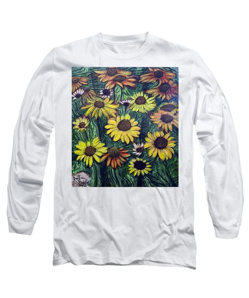 Long Sleeve T-Shirt featuring the painting Summertime Flowers by Ron Richard Baviello