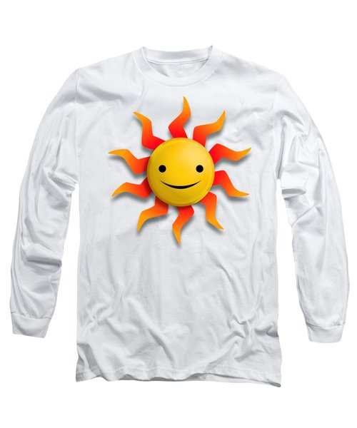 Long Sleeve T-Shirt featuring the digital art Sun Face No Background by John Wills