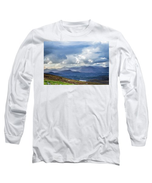 Sun Rays Piercing Through The Clouds Touching The Irish Landscap Long Sleeve T-Shirt by Semmick Photo
