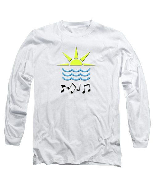 Sun, Sea And Music Long Sleeve T-Shirt by Linda Prewer