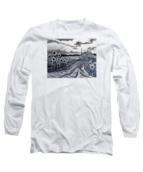 Long Sleeve T-Shirt featuring the painting Sunflower Farm by Kevin F Heuman