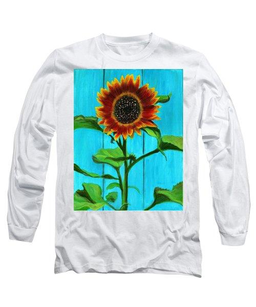 Sunflower On Blue Long Sleeve T-Shirt