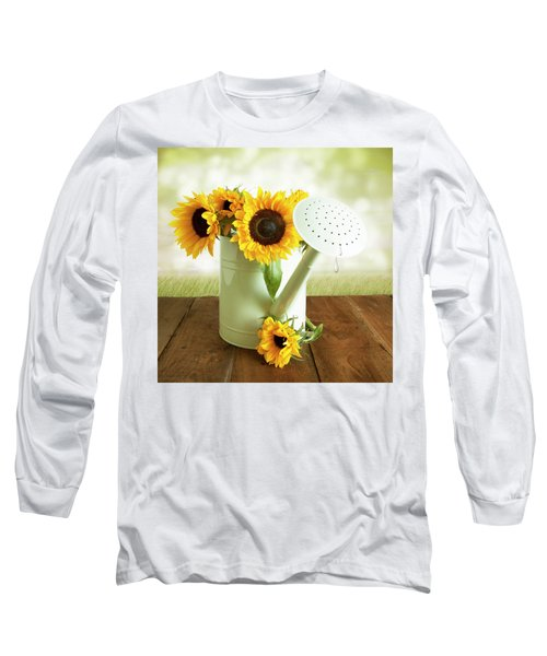 Sunflowers In An Old Watering Can Long Sleeve T-Shirt