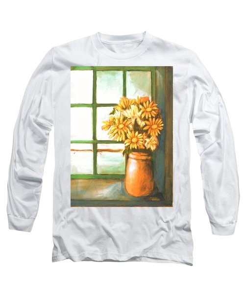 Long Sleeve T-Shirt featuring the painting Sunflowers In Window by Winsome Gunning