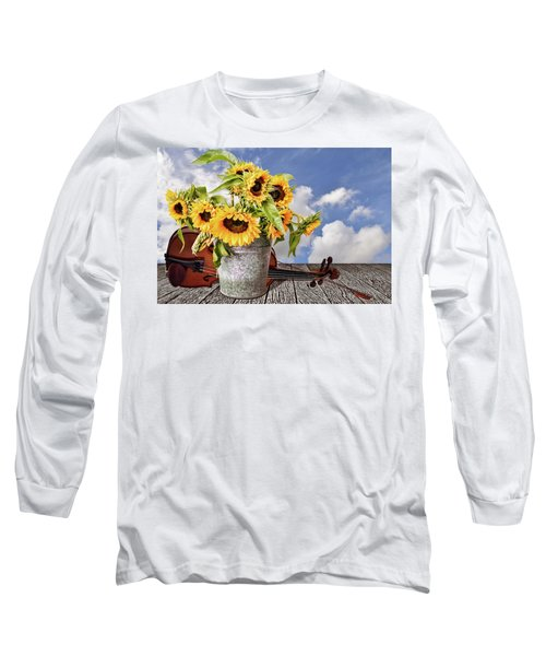 Sunflowers With Violin Long Sleeve T-Shirt