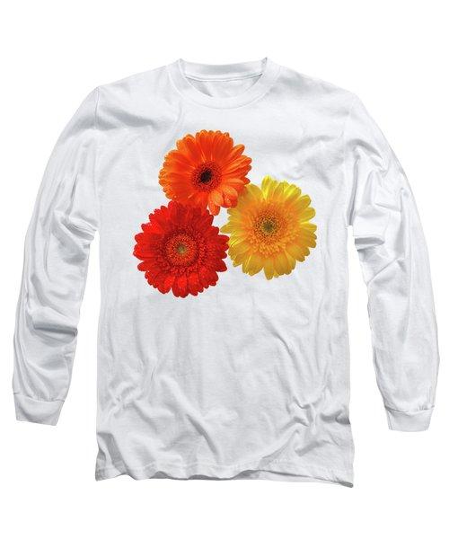Sunny Gerbera On White Long Sleeve T-Shirt