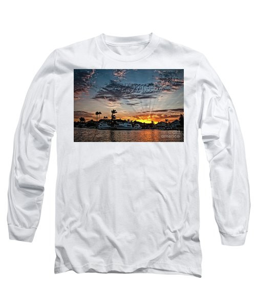 Sunrays Over Huntington Harbour Long Sleeve T-Shirt by Peter Dang