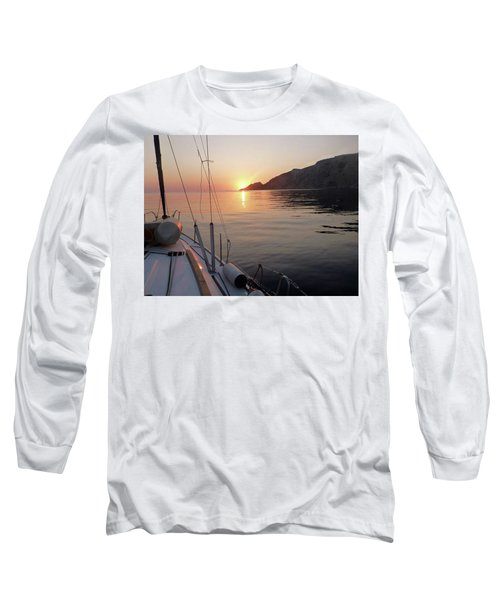 Sunrise On The Aegean Long Sleeve T-Shirt by Christin Brodie