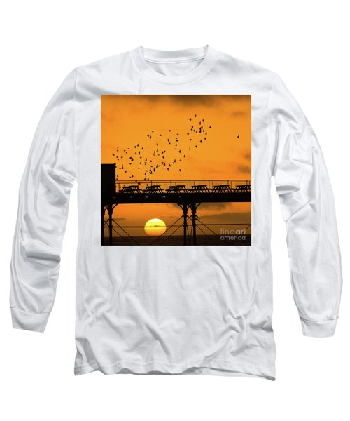 Sunset And Starlings In Aberystwyth Wales Long Sleeve T-Shirt