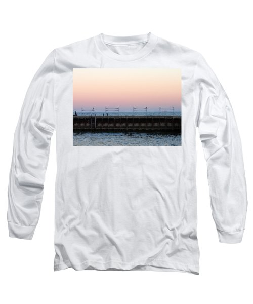 Sunset At Diversey Harbor Long Sleeve T-Shirt