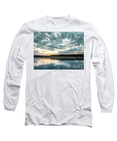 Sunset Behind Small Hill With Storm Clouds In The Sky Long Sleeve T-Shirt