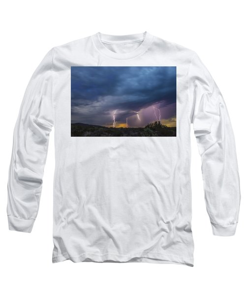 Long Sleeve T-Shirt featuring the tapestry - textile Sunset Lightning by Kathy Adams Clark