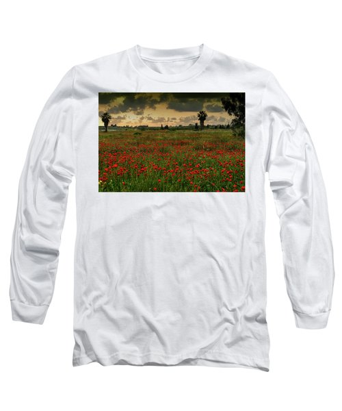 Sunset On A Poppies Field Long Sleeve T-Shirt