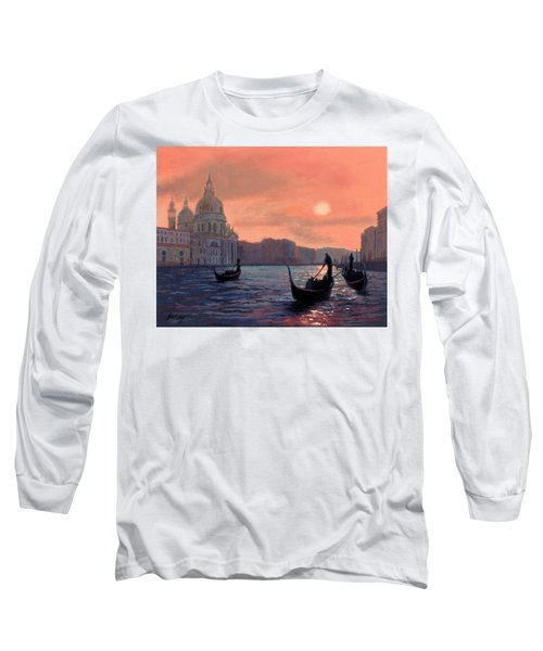 Long Sleeve T-Shirt featuring the painting Sunset On The Grand Canal In Venice by Janet King