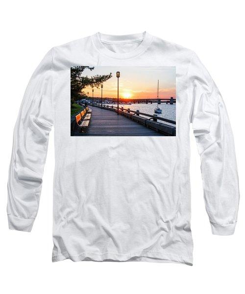 Sunset Over Newburyport Ma Merrimack River Newburyport Turnpike Long Sleeve T-Shirt