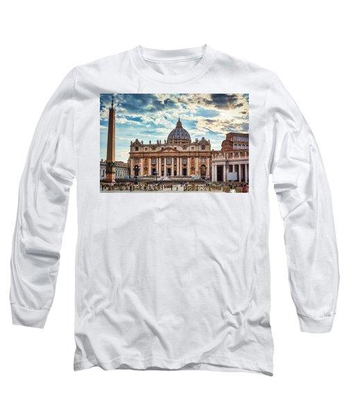 Sunset Over The Papal Basilica Of Saint Peter Long Sleeve T-Shirt