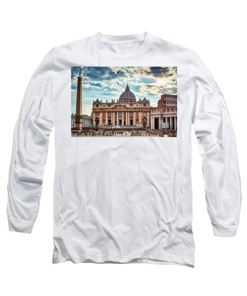 Sunset Over The Papal Basilica Of Saint Peter Long Sleeve T-Shirt