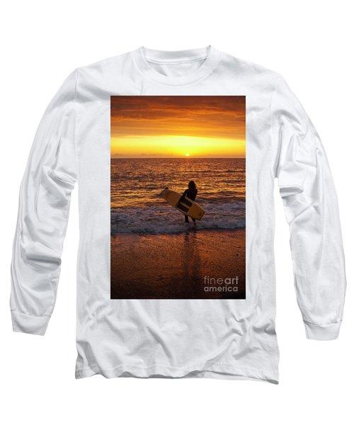 Sunset Surfer On Aberystwyth Beach Wales Uk Long Sleeve T-Shirt