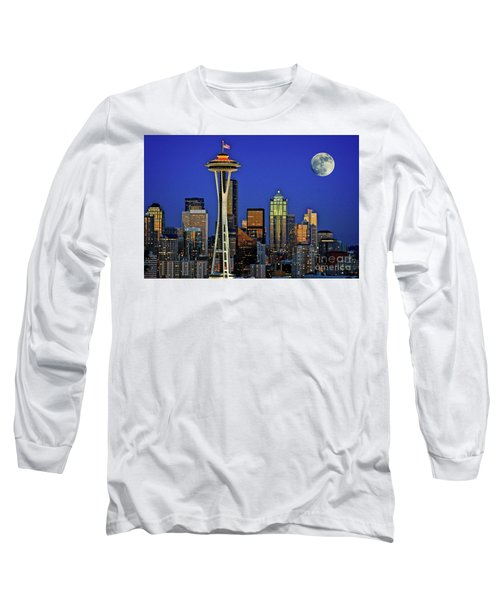 Super Moon Over Seattle Long Sleeve T-Shirt