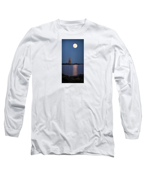 Super Moon Over Whaleback Lighthouse Long Sleeve T-Shirt by Betty Denise