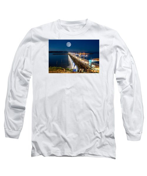 Super Moon Over White Rock Long Sleeve T-Shirt by Sabine Edrissi