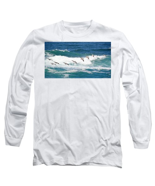 Surf And Pelicans Long Sleeve T-Shirt