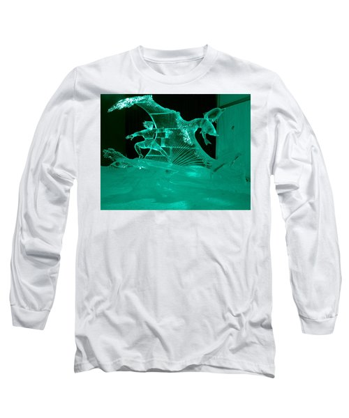 Surfing With Dolphins Long Sleeve T-Shirt by Betty-Anne McDonald