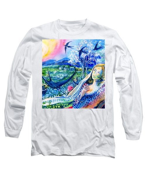 Long Sleeve T-Shirt featuring the painting Surprised By A Swallow  by Trudi Doyle