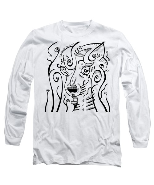 Surrealism Scream Black And White Long Sleeve T-Shirt
