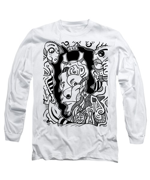 Surrealism Pagan Black And White Long Sleeve T-Shirt