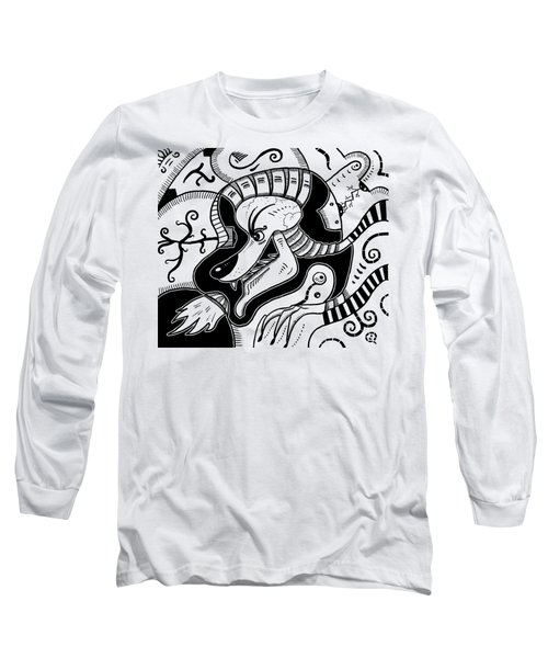 Surrealism Wolf Black And White Long Sleeve T-Shirt
