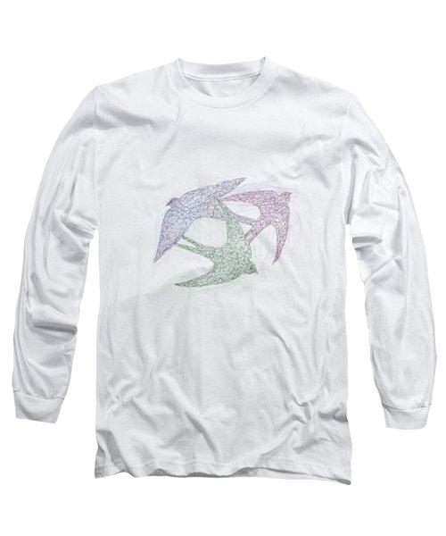 Swallow Birds Motion Design  Long Sleeve T-Shirt