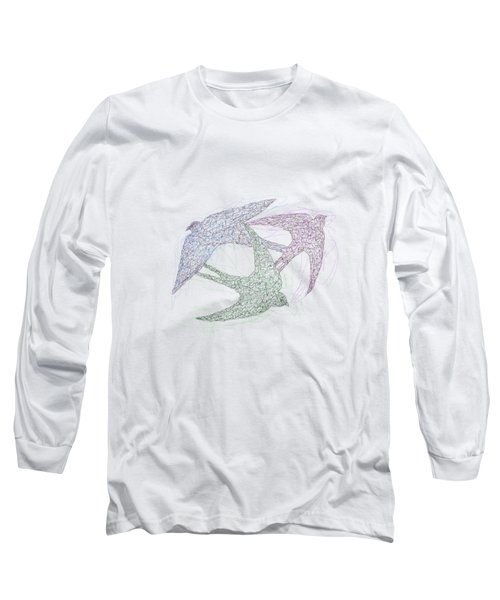 Swallow Birds Motion Design  Long Sleeve T-Shirt