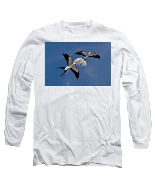 Swallow Tail Kites In Flight Under Moon Long Sleeve T-Shirt by Justin Kelefas