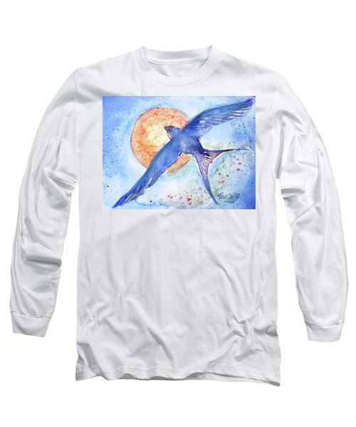 Long Sleeve T-Shirt featuring the painting Swallows Return  by Trudi Doyle