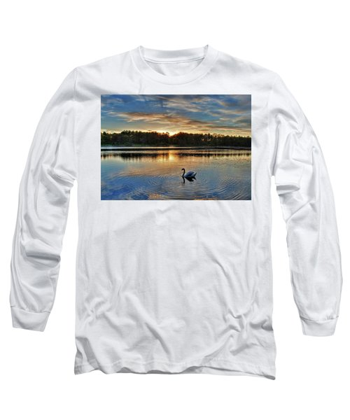 Long Sleeve T-Shirt featuring the photograph Swan At Sunset by Wayne Marshall Chase