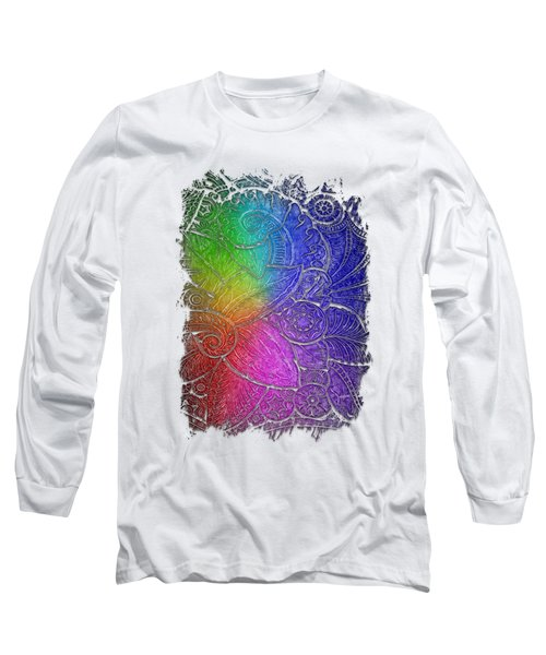 Swan Dance Cool Rainbow 3 Dimensional Long Sleeve T-Shirt by Di Designs