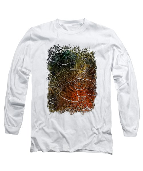 Swan Dance Earthy Rainbow 3 Dimensional Long Sleeve T-Shirt by Di Designs