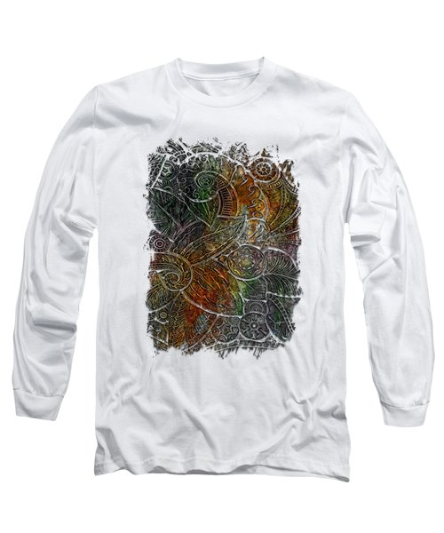 Swan Dance Muted Rainbow 3 Dimensional Long Sleeve T-Shirt by Di Designs