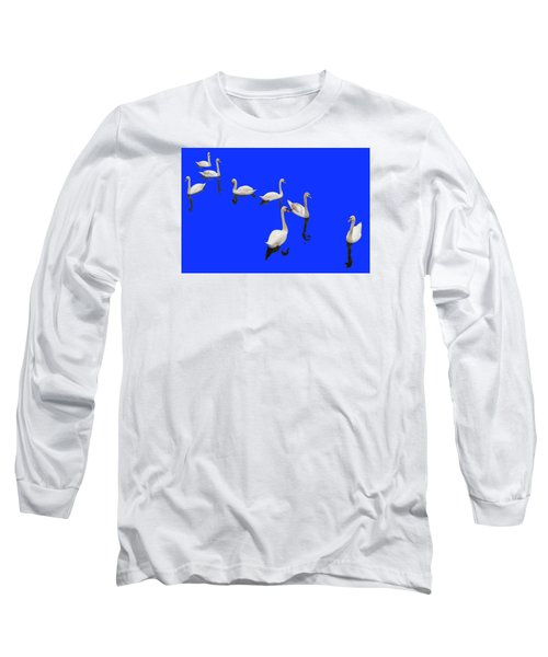 Long Sleeve T-Shirt featuring the photograph Swan Family On Blue by Constantine Gregory
