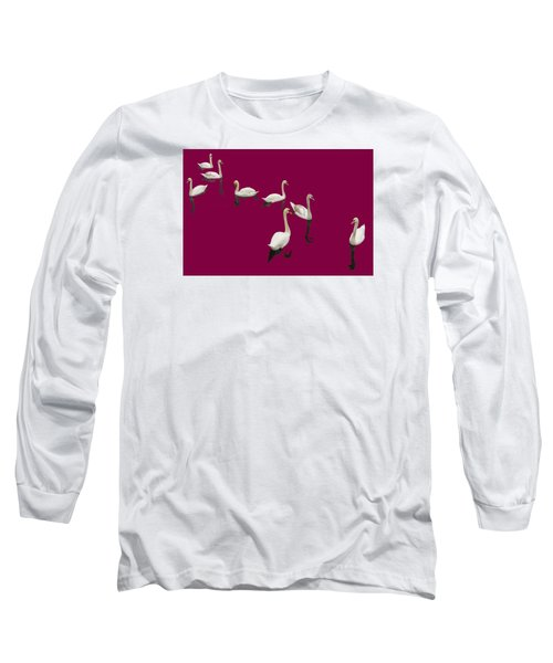 Long Sleeve T-Shirt featuring the photograph Swan Family On Burgandy by Constantine Gregory