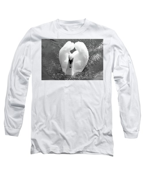Swan In Motion Long Sleeve T-Shirt by Inspirational Photo Creations Audrey Woods