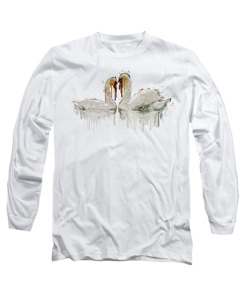 Swan Love Acrylic Painting Long Sleeve T-Shirt by Georgeta Blanaru