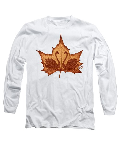 Swans Love On Maple Leaf Original Coffee Painting Long Sleeve T-Shirt by Georgeta Blanaru