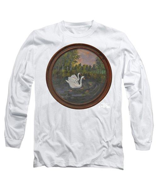 Swans On Lake Long Sleeve T-Shirt
