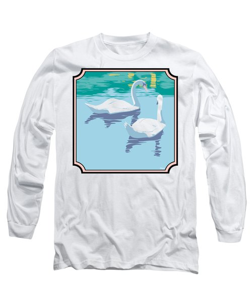 Swans On The Lake And Reflections Absract - Square Format Long Sleeve T-Shirt by Walt Curlee
