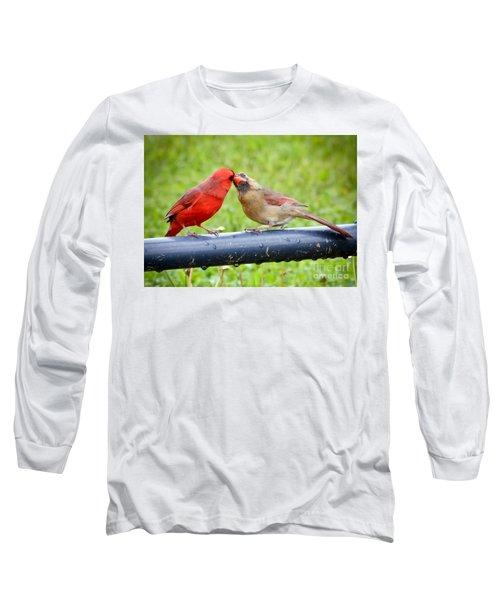 Sweet Cardinal Couple Long Sleeve T-Shirt by Kerri Farley